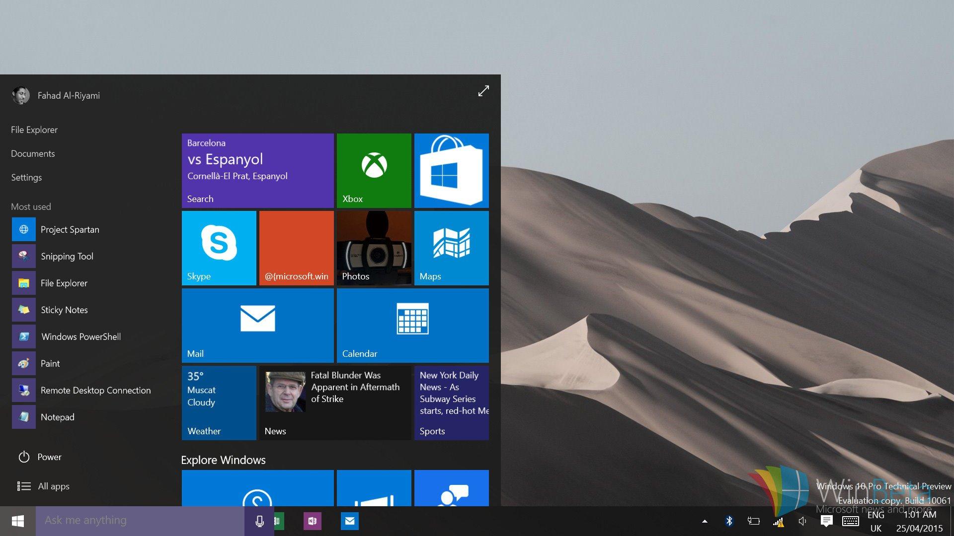 چرا نمی توان برنامه های Win32 را از منوی استارت در ویندوز 10 نسخه 10061 باز کرد؟
