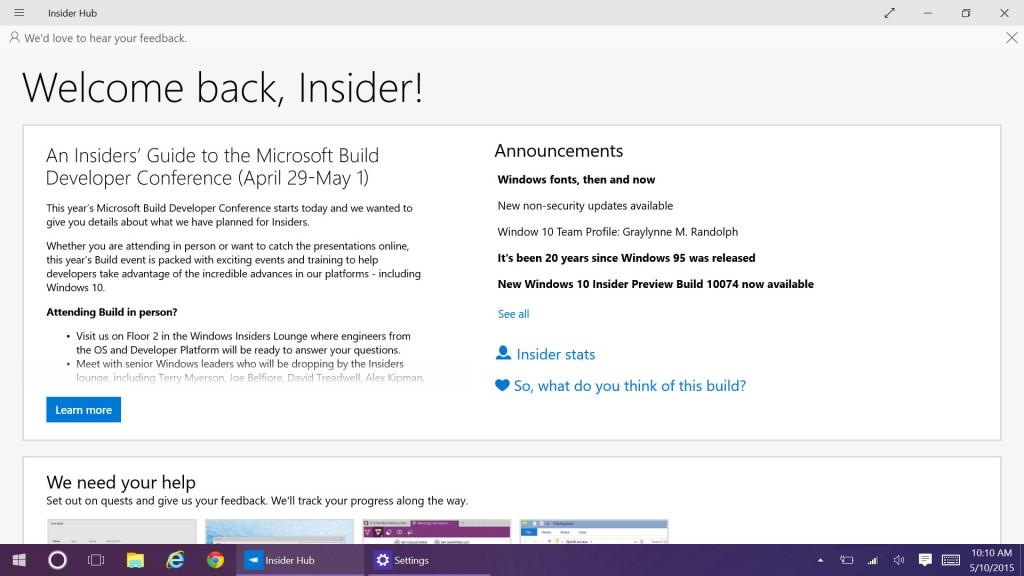 اواخر دیروز، نسخه جدیدی از ویندوز 10، 10114، راه خود را از دیوارهای ردموند خارج کرد و در این نسخه ساخته شده، هاب اینسایدر تجدید نظر شده است.