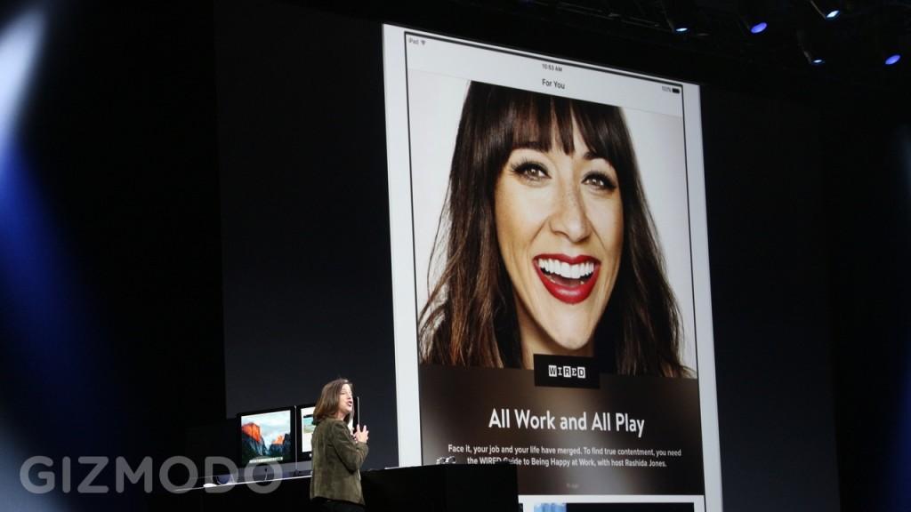 اما اپل ظاهرا به سازمان های خبرگذاری نیز اجازه می دهد که مطالب نِیتیو خودشان را برای اپل نیوز بسازند، با اجرای انیمیشن و همچنین ویدیو های تعبیه شده، وقتی که شما صفحه را به پایین اسکرول می کنید.  البته باید اشاره کرد که یک رقیب جدی برای برنامه فیس بوک نیوز پیدا شده است.