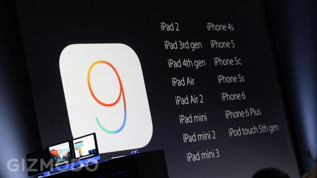 ساعت 11:15 : این ماه جولای پیشِ رو، نسخه بتا iOS 9 به صورت عمومی (نه بصورت خصوصی و برای توسعه دهندگان) منتشر خواهد شد و در پاییز نیز آپدیت آن رایگان خواهد بود. این سیستم عامل تمامی دستگاه هایی iOS را که iOS 8 دارند پشتیبانی می کند. هیچ کدام از آن ها از قلم نیافتاده اند.