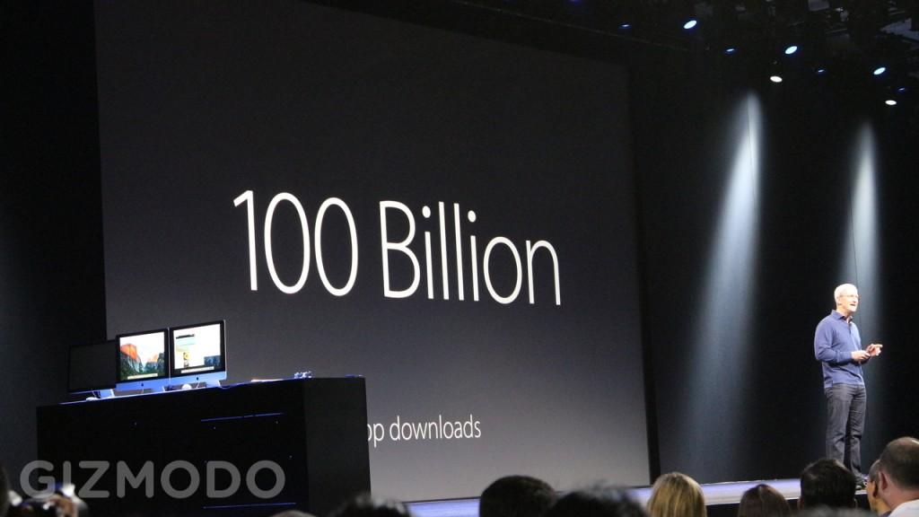 ساعت 11:17 : تیم کوک بازگشت. او گفت، اپ استور مانند یک پدیده عمل می کند. تا بدین جا بیشتر از 100 میلیارد اپلیکیشن دانلود شده و 30 میلیارد دلار به توسعه دهندگان پرداخت شده است.