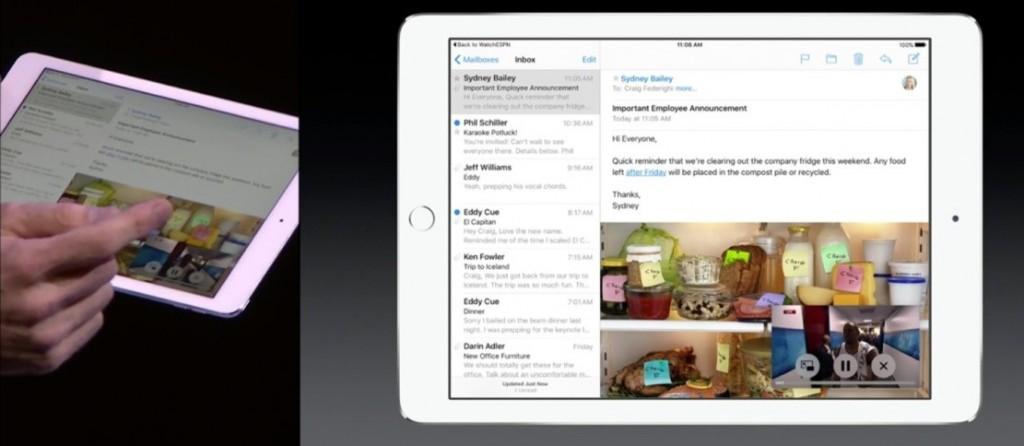 عملکرد چندگانه اپل در iOS 9 به این شکل است که 2 اپلیکیشن نه تنها همزمان باز می شوند بلکه همزمان هم قابل استفاده می باشند. این قابلیت توسط یک صفحه تقسیم شده حمایت می شود که در آن 2 پنجره همزمان در کنار یکدیگر باز می شوند.