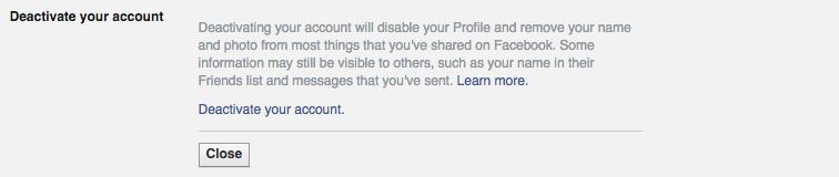 Deactivate your account را در خط پایین صفحه کلیک کنید.
