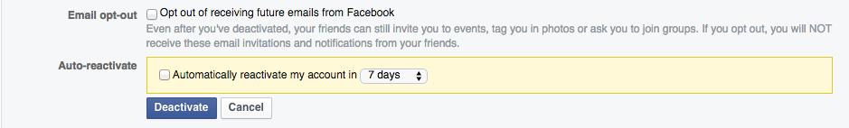 نکته مفید: اگر ادمینیستریتور یک صفحه در فیس بوک هستید، پس از غیر فعال سازی حساب کاربری، دسترسی به آن سایت را از دست می دهید و خود آن صفحه هم از کار خواهد افتاد، اگر شما تنها ادمین آن باشد.