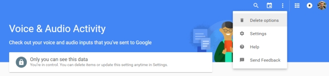 """مرحله 3. برای حذف تاریخچه جستجوی صوتی خود در گوگل ، روی سه نقطه """"منو"""" در گوشه بالا سمت راست کلیک کرده، و سپس """"حذف گزینه ها"""" را انتخاب نمایید."""