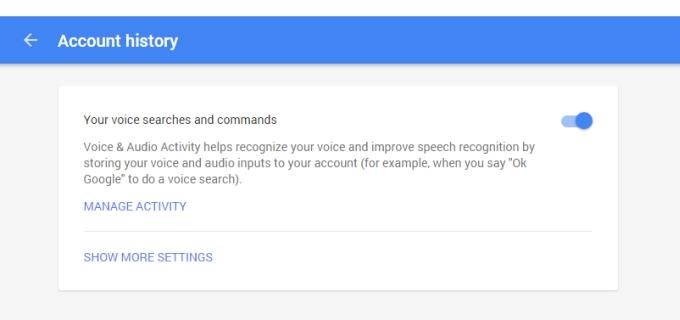 مرحله 6. به این صفحه بروید. اگر رنگ نوار لغزنده (اسلایدر، دکمه ای که در عکس نیز مشخص می باشد) در حالت آبی قرار داشت، گوگل در حال جمع آوری جستجوهای صوتی شما می باشد.