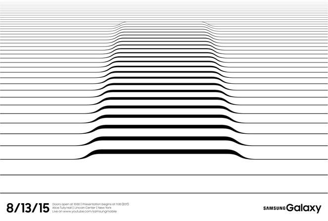 آن ها در اطلاعیه دعوت نامه خود از خطوطی منحنی بر روی یکدیگر استفاده کرده اند و در این مورد متخصصان بیان می کنند که این خطوط به دلیل رونمایی از گلکسی S6 اج پلاس سامسونگ – که گوشی هوشمندی با صفحه نمایشی منحنی می باشد – است. انتظار می رود که در همین رویداد سامسونگ از فبلت پرچمدار جدید خود، گلکسی نوت 5 نیز رونمایی کند.