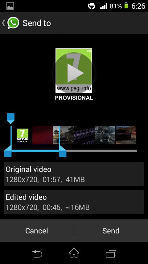 با کمک یک اپلیکیشن مناسب می توان حتی ویدئو های طولانی تری را هم از طریق واتس اپ ارسال کرد. برای کاربران اندروید، اپلیکیشن Video Trimmer Guru مناسب ترین ابزار برای اینکار است و شما می توانید آن را رایگان از گوگل پلی استور دریافت کنید.