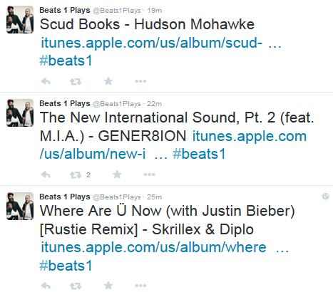 توییتر بیتس وان هر آهنگی که پخش می شود را اعلام می کند