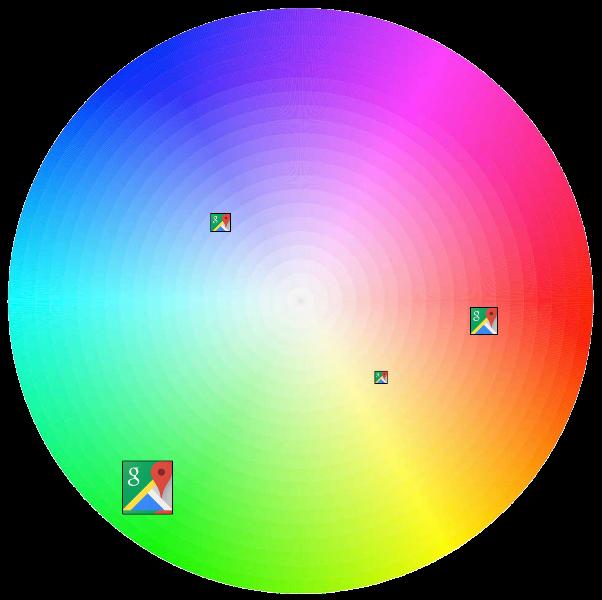 به طور مثال این کار را برای برنامه ی گوگل مپز (Google Maps) که رنگ های سبز، قرمز، آبی و زرد را در ترکیب رنگی خود دارد، پیاده سازی کردند. با وجود قسمت بیشتری از رنگ سبز، ناحیه ی سبز رنگ به نمایندگی از این برنامه قرار می گیرد.