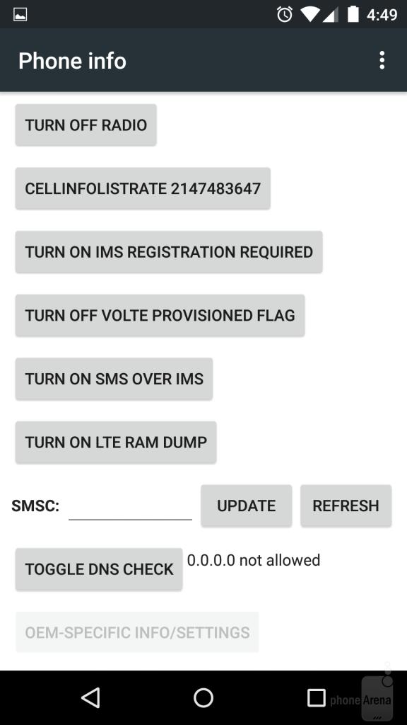 اطلاعات تلفن ( شماره IMEI ، شبکه فعلی و غیره )
