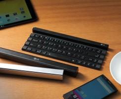 """LG Rolly. این لوازم جانبی به عنوان """"اولین صفحه کلید بی سیم قابل حمل و قابل رول شدن در صنعت"""" ارائه می شود."""