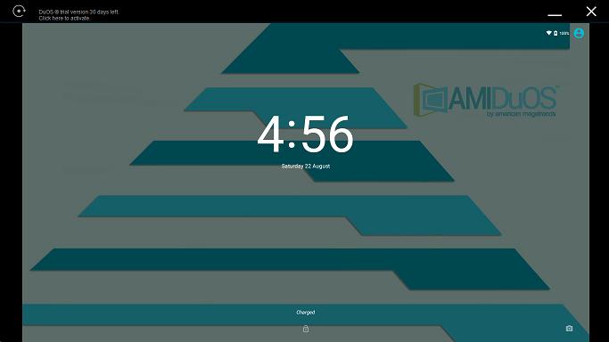 بعد از اجرای AMIDuOS، شما اندروید استاندارد را بر روی لپ تاپ خود خواهید داشت و و با بار گیری صفحه نمایش و متعاقب آن قفل صفحه نمایش به شما خوش آمد گفته می شود.