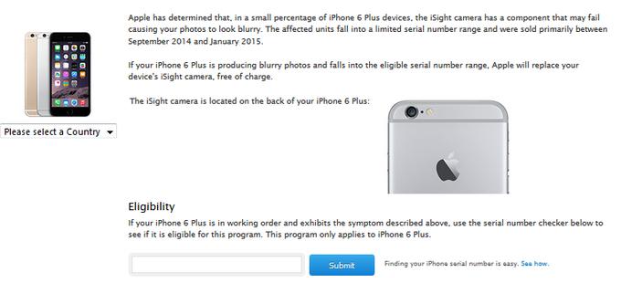 اپل، برنامه ی جایگزینی دوربین iSight را برای برخی از واحدهای مشخص از آیفون ۶ پلاس شروع می کند