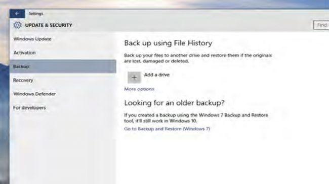 """5. یک بک آپ مطمئن ایجاد نمایید  برای انجام این کار و ایجاد یک بک آپ مطمین از سیستم عامل و سندهایتان در هر هفته، شما حدودا ۱۲۰ گیگابایت فضای اضافی در یک پارتیشن یا درایو جداگانه نیاز خواهید داشت. به بخش """"تنظیمات"""" (Settings) رفته و """"بروزرسانی و امنیت"""" (Update & Security) را انتخاب نمایید، حال بر روی """"بک آپ"""" (Back-up) در سمت چپ پنجره کلیک کنید. بر روی دکمه """"+"""" کلیک کرده و پارتیشن یا درایوی که می خواهید به این عنوان از آن استفاده نمایید را انتخاب کنید. هنگامی که کار انجام شد، """"گزینه های بیشتر"""" (more options) را انتخاب کرده و سپس به """"تنظیمات پیشرفته تر را ببینید"""" (see advanced setting) بروید."""