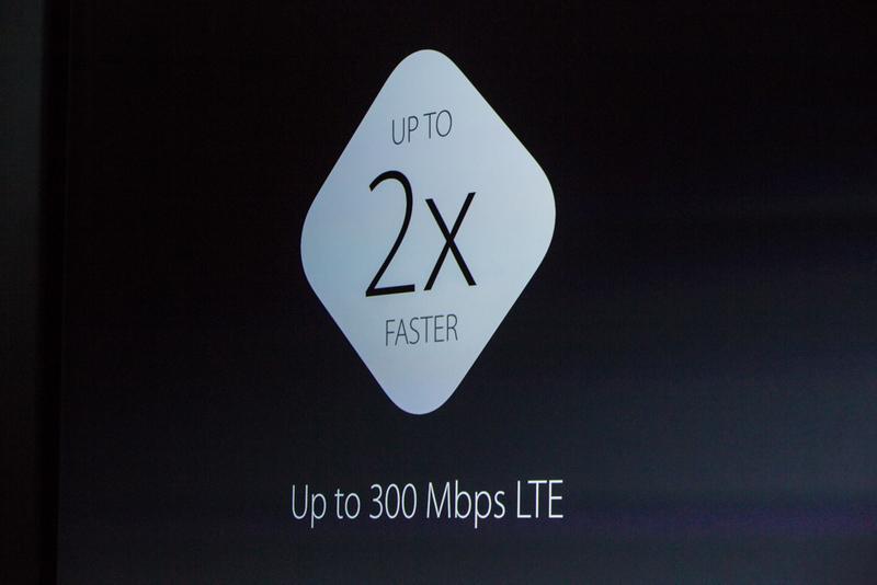 """""""ما همچنین پیشرفت های فوق العاده ای نیز در وایرلس داده ایم. LTE به LTE پیشرفته ارتقا یافته که دو برابر سریع تر است، تا 23 باند که نسبت به هر گوشی هوشمند دیگری بیشتر است"""" """"وای فای نیز سریع تر شده است، تا 2 برابر سریع تر"""""""