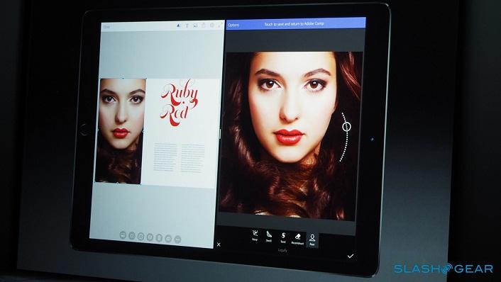 ادوبی هم برای این آیپد پرو، یک برنامه ی جدید به نام فوتوشاپ فیکس (Photoshop Fix) به ارمغان می آورد که تشخیص چهره را ارائه می دهد و توانایی ایجاد تغییراتی را در چهره می دهد