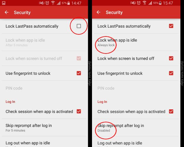 """این جایی است که ما مطمئن می شویم که LastPass حد الامکان ایمن خواهد بود و از اسکنر اثر انگشت خود به منظور سهولت دسترسی استفاده خواهید کرد. """"Lock LastPass Automatically"""" را فعال کنید، سپس مطمئن شوید که گزینه ای که دور آن خط کشیده شده همانطور که در اسکرین شات سمت چپ می بینید، تنظیم شده است. همچنین از on بودن گزینه ی """"Use fingerprint to unlock"""" هم مطمئن شوید."""