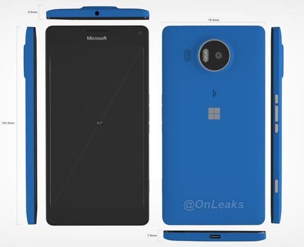 رندر های جدید لومیا 950 XL مایکروسافت ابعاد این گوشی را نشان می دهد