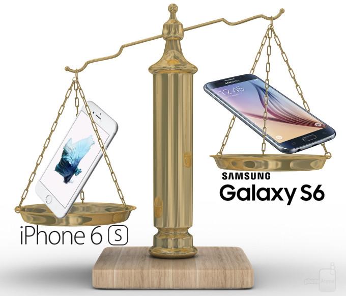 مدل آیفون ۶اس به وزن ۵.۰۴ اونس (۱۴۳ گرم) و مدل گلکسی اس۶ هم دارای وزن ۴.۸۷ اونس (۱۳۸ گرم) می باشد.