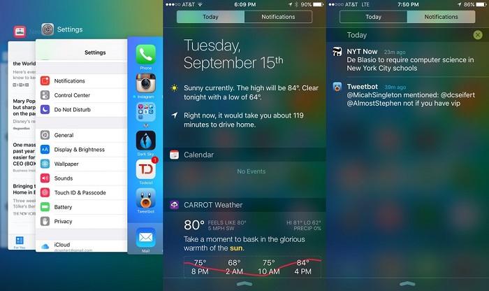 در iOS 9 طراحی بصری خیلی متفاوتی که مانند iOS 7 در دو سال پیش، ما را شوکه کند، به چشم نمی آید. می توانید آن را نصب کنید، و ببینید که تفاوت حیرت آوری بین آن و iOS 8 وجود ندارد. به روز رسانی های بصری آن ظریف هستند: یک فونت جدید به نام سان فرانسیسکو(که در اپل واچ نیز شاهد آن هستیم)، یک صفحه کلید به روز با حروف بزرگ و کوچک مجزا، و در نهایت یک مرکز اطلاع رسانی جدید که نوتیفیکیشن های دسته بندی شده با زمان و تاریخ، و نه با برنامه، را مهیا می کند، وجود دارد. البته مرکز اطلاع رسانی در iOS 9 هنوز هم فاقد یک گزینه پاک کردن همه (clear all) است، اما دسته بندی جدید با تاریخ، باعث می شود که نوتیفیکیشن های گذشته را بسیار آسان تر حذف کنیم.