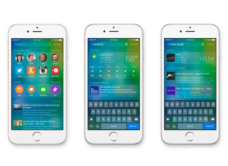 iOS 9، نسخه ی امسال از پلت فرم موبایل اپل می باشد که به طور رسمی در WWDC' 15 رونمایی شده و عمدتا یک بروزرسانی افزایشی از 8 iOS سال گذشته است. اکثریت قابلیت های آن به طور رسمی توسط اپل بر روی صحنه نمایش داده می شود و شامل بروزرسانی های چندگانه ی سیری که درباره ی فعال تر و هوشمند تر شدن از قبل می باشد، بهبود جستجوی Spotlight، چند وظیفه ای برای آیپدهای منتخب و حالت کم توان باتری (Low Power) می باشد. علاوه بر این اپل مپ (Apple Maps) و اپل نوت (Apple Notes) با بسیاری از قابلیت های جدید و بهبود رابط کاربری، امنیت بهتر و یک برنامه ی سوئیچر نونما شده، ارتقا یافته اند. همچنین این سیستم عامل اولین نسخه از iOS تا بدینجاست که برای تست عمومی به طور آشکارا در دسترس قرار گرفت.