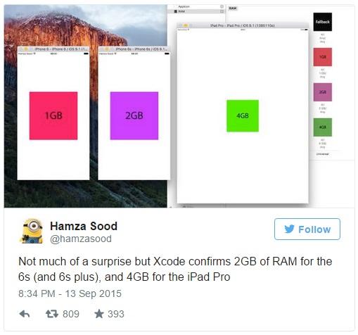 """""""چندان تعجب بر انگیز نیست اما Xcode دو گیگا بایت رم برای 6S و 6S پلاس و 4 گیگا بایت رم برای آیپد پرو را تایید کرده است""""، این توییتی بود که در 13 سپتامبر از Hamza Sood دیده شد (او یکی از توسعه دهندگان iOS است که قبلا نیز توییت های خوب و جالبی در مورد آیفون های جدید کرده بود)."""