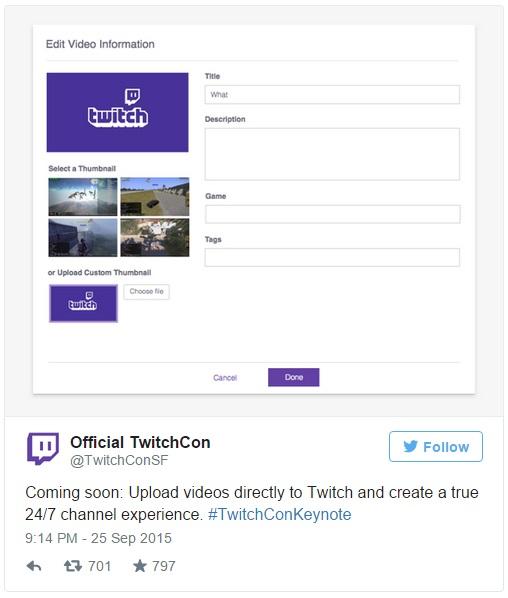 در بخشی از سخنرانی اصلی نیز توییچ امروز اعلام کرد که به زودی قصد دارند پلیر خود را که تماماً با HTML5 پیاده سازی شده است را عرضه کنند (که در حال حاضر نیز برخی از پخش کنندگان منتخب به آن دسترسی دارند) و سال آینده نیز موتور جستجویشان را ارتقا خواهند داد. این رویداد که TwitchCon نام دارد، امروز و فردا، 25 و 26 سپتامبر (3 و 4 مهر) در سانفرانسیسکو برگزار می شود.