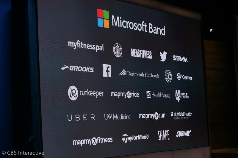"""ساعت 17:59 : او می گوید مایکروسافت بند حتی در هنگام بازی گلف نیز می تواند مفید باشد. """"مایکروسافت بند با iOS، اندروید و ویندوز کار می کند."""" شرکت های بزرگی برای این دستگاه پوشیدنی با مایکروسافت همکاری کرده اند که اسامی این شرکت ها در تصویر زیر قابل مشاهده می باشند."""