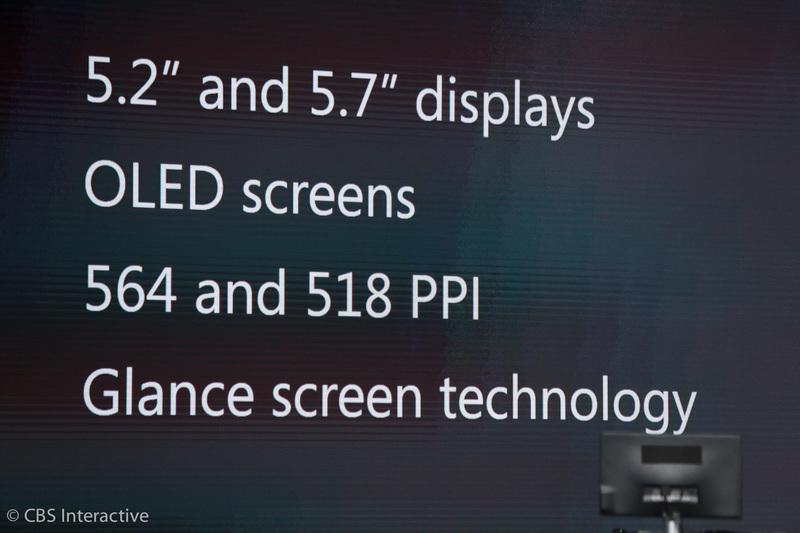 """ساعت 18:08 : """"لومیا 950 از یک پردازنده 6 هسته ای و لومیا 950XL از یک پردازنده 8 هسته ای استفاده می کند، هر دوی این پردازنده ها نیز از شرکت کوالکام است."""" """"این گوشی ها 5.2 اینچ و 5.7 اینچ اندازه صفحه نمایششان است."""" """"صفحه نمایش آن ها OLED است"""" """" لومیا 950 از تراکم پیکسلی 518 پیکسل در هر اینچ و 950XL نیز از 564ppi بهره می برد."""" """" این گوشی های از تکنولوژی """"glance screen"""" نیز بهره می برند."""""""