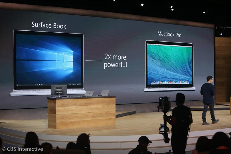 """ساعت 18:55 : مایکروسافت این لپ تاپ را به یک عملکرد گرافیکی بالا مجهز کرده است. مایکروسافت اشاره ای به متخصصان تیم اکس باکس خود کرد که در بهینه سازی پردازنده گرافیکی این لپ تاپ کمک های شایان توجهی کرده اند. """"مایکروسافت سرفیس بوک را با مک بوک پرو مقایسه کرده است، این دستگاه 2 برابر سریع تر است"""""""