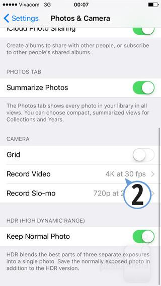 ویدئوی 4K فضای ذخیره سازی زیادی را می خواهد. سه دقیقه از ویدئوی 4K بر روی گوشی آیفون ۶اس یک گیگابایت از فضای ذخیره سازی آن را پر می کند.
