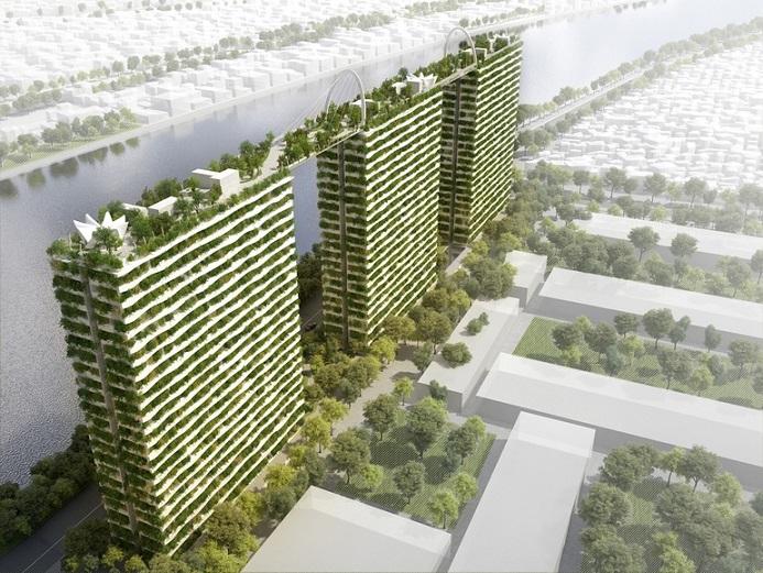این پروژه که Diamond Lotus نامیده می شود قرار است که به ساکنان شهر هوشی مین، محافظی سبز از برگ ها ارائه دهد تا آن ها را از گزند نور خورشید و آلودگی هوا در امان نگاه دارد. از طرح های مفهومی که کار طراحان شرکت Phuc Khang ویتنام می باشد، کاملا مشهود است که این پروژه شامل سه برج 22 طبقه می باشد که در تمامی نمای آن گیاهان و درختانی زیبا به کار رفته اند و زیر بنایی مجموعاً 67240 متر مربعی را به ارمغان می آورند.