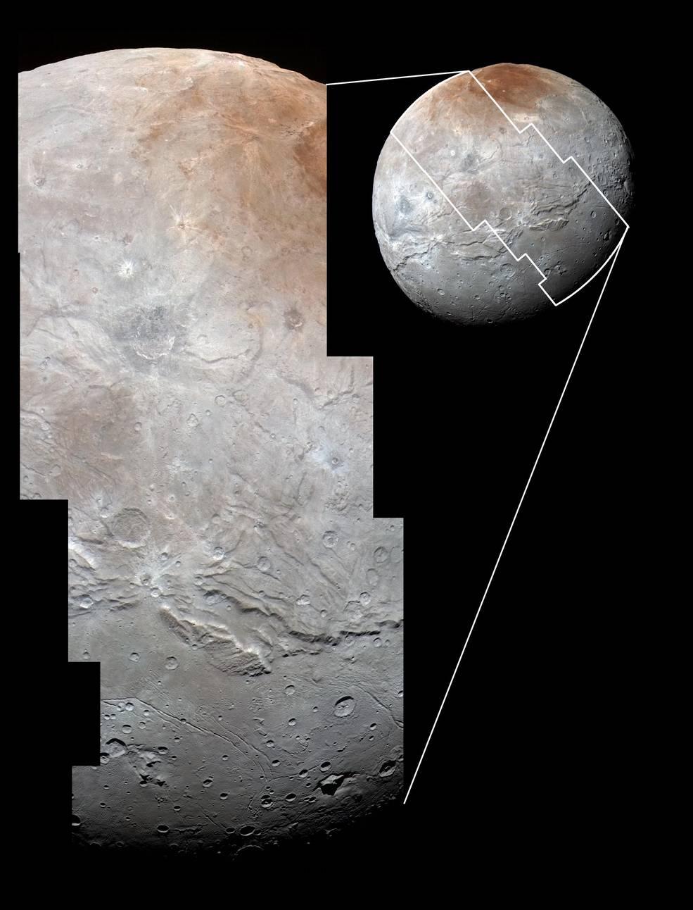 تصاویری با کیفیت بالا از شارون که توسط تصویربردار اکتشافی دور بُردی که بر روی کاوشگر نیو هورایزنز ناسا وجود دارد، گرفته شده است. این تصاویر درست قبل از رسیدن به نزدیک ترین فاصله با پلوتون در تاریخ 14 جولای 2015 (23 تیر 1394) گرفته شده و از روی هم قرار دادن و ترکیب تصاویر گرفته شده توسط دوربین (Ralph/Multispectral Visual Imaging (MVIC، به وجود آمده است. تصویری که شاهد آن هستید منطقه ای گسترده از دره ها و زمین های از هم گسیخته است که با نام غیر رسمی Vulcan Planum نیز شناخته می شود. این تصویر 754 مایل (1214 کیلومتر) از سطح شارون را با مقیاس 0.5 مایل (0.8 کیلومتر) به نمایش می گذارد. (Credits: NASA/JHUAPL/SwRI)