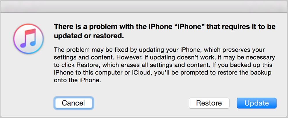 آیتونز سعی خواهد کرد بدون پاک کردن اطلاعات شما مجددا سیستم عامل iOS را نصب نماید.
