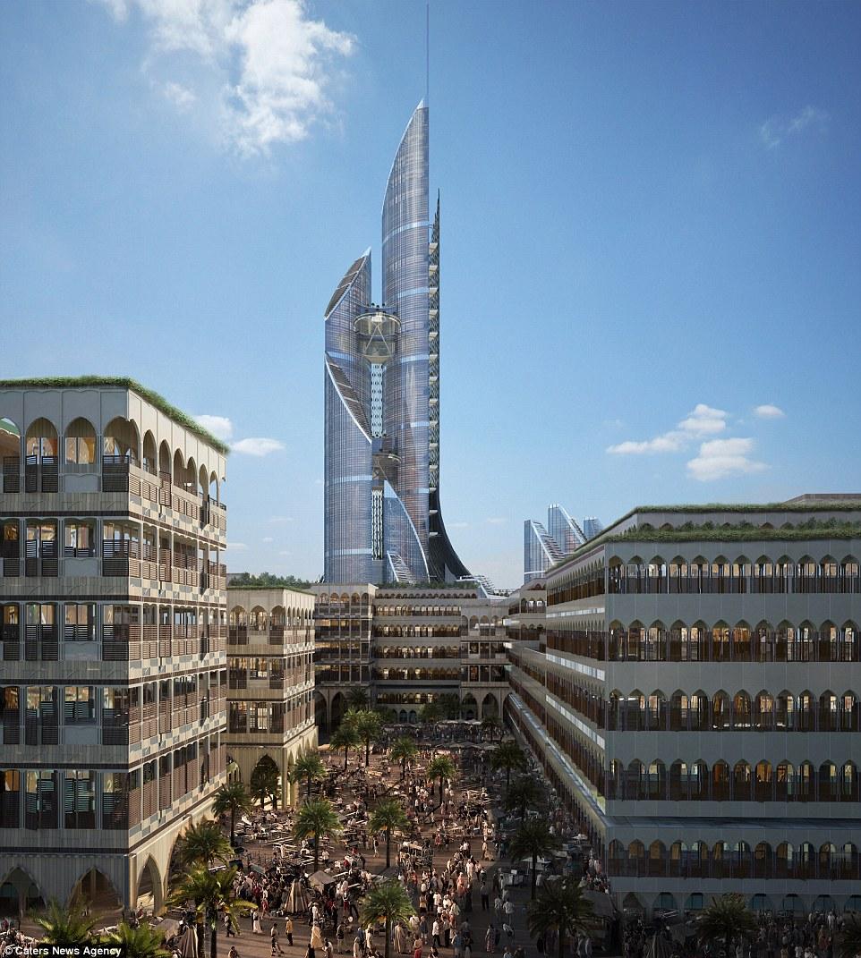 بلند ترین نقطه این ساختار حجیم و مرتفع 1,150 متر خواهد بود و از بهم چسبیدن چهار آسمان خراش با ارتفاع های متفاوت تشکیل می شود. این ساختمان غول پیکر 230 طبقه دارد. گروه طراحی AMBS یک آنتن 187 متری در بلندترین نقطه آن در نظر گرفته است.  برج براید (Bride) یا همان برج عروس با زیربنایی بیش از 450,000 متر مربع که از فضا های مختلفی چون هتل ها، واحد های مسکونی، ادارات، واحد های تجاری بسیار و همچنین پارک ها و فضا های سبز شکل گرفته است به عنوان اولین شهر عمودی در جهان به حساب می آید.