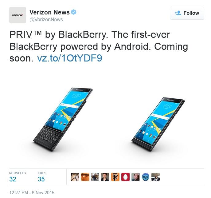 """در حالی که ورایزون هنوز آماده فروش گوشی پریو به مشتریانش نشده است اما به نظر می رسد که """"به زودی"""" این امر محقق خواهد شد. این همان چیزی است که از اکانت توییتر این اپراتور موبایل، @VerizonNews توییت شد. ورایزون همچنین در وب سایت خود محلی را تدارک دیده تا کاربرانی که تمایل به خرید بلک بری پریو را دارند، ایمیل خود را در آنجا وارد کرده و هنگامی که این شرکت آماده پیش فروش این گوشی هوشمند شد برای آن ها اطلاعیه ای ارسال گردد."""