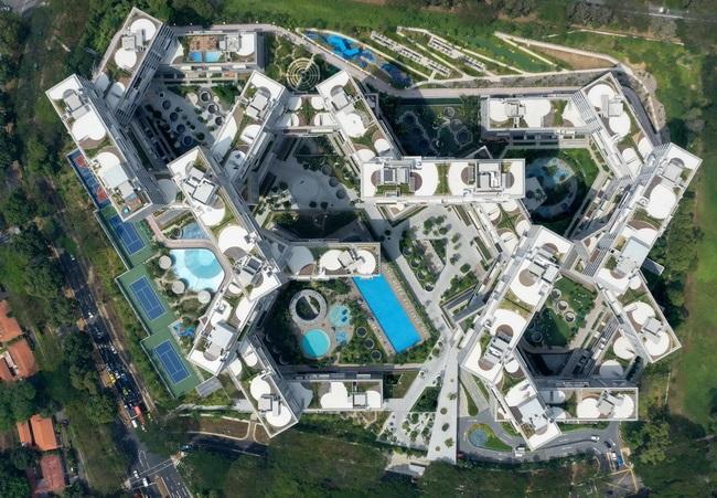 6 - دهکده شش ضلعی عمودی در سنگاپور، برترین سازه معماری جهان در سال 2015