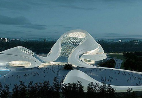 خانه اپرای هاربین با فضایی دراماتیک