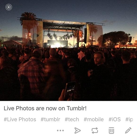 به نظر می رسد که تامبلر (Tumblr) - که یک پلتفرم میکروبلاگینگ و وب سایتی در جهت ارائه خدمات شبکه اجتماعی است – از اینکه تنها تصاویر، ویدیوها و GIF های ساده را به نمایش بگذارد خسته شده و تصمیم گرفته تا از لایو فوتو های اپل (Live Photos، تصاویر زنده) نیز پشتیبانی نماید و به همین دلیل نیز می توان آن را اولین اپلیکیشن iOS شخص ثالثی نامید که به این ویژگی دست یافته است.