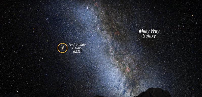 این تصویر، آسمان شب را در بهترین حالت آن نشان می دهد، در صورتیکه از شهر و روشنایی های کاذب آن کاملا دور بوده و به آسمان صاف دسترسی داشته باشید، ممکن است نمایی از این آسمان را شاهد باشید. جالب است بدانید که در برخی شب ها، کهکشان آندرومدا در آسمان شب قابل مشاهده است که ما قادر به تشخیص آن نیستیم. در تصویر زیر، نقطه ی درخشان که در نزدیکی نوار کهکشان راه شیری قرار دارد، کهکشان آندرومداست.