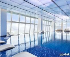 استخر ریتز کارلتون هنگ کنگ منظره بسیار جذابی دارد. این استخر در طبقه 118 ام در 484 متری زمین، در بلندترین بنای این شهر، واقع شده است. سقف و دیوارها از 144 نمایشگر LED که مناظر زیبای طبیعی مثل درختان، مرجان ها و... را به تصویر میکشند تشکیل شده است. همچنین دارای یک جکوزی در محوطه آزاد میباشد.