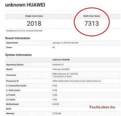 خبر های جدیدی حاکی از آن است که گوشی جدیدی از هواوی در یک تست بنچ مارک، توسط گیگ بنچ با تراشه ای که از قرار معلوم کیرین 950 بوده، محک خورده است. برای این گوشی 4 گیگا بایت رم و سیستم عامل اندروید 6.0 نیز ذکر شده است.