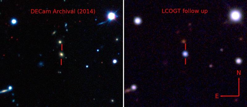 تصویر زیر، کهکشان میزبان را قبل و بعد از انفجار ابر نو اختر نشان می دهد.