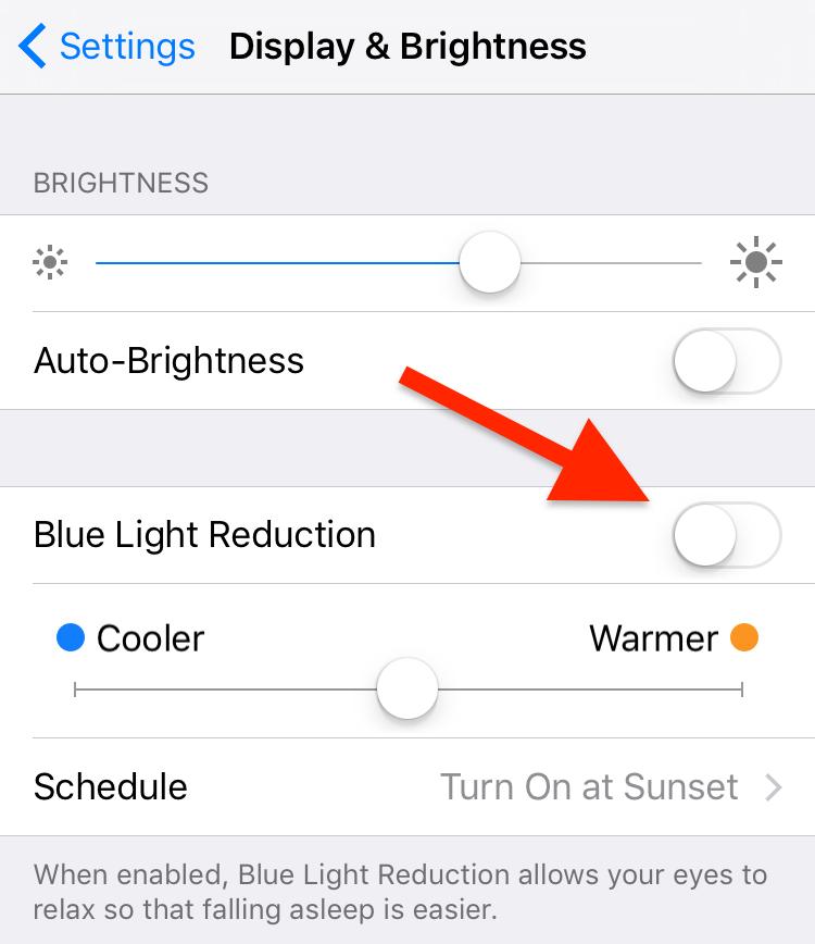 گزینه ی کاهش آبی روشن (Blue Light Reduction) را می بینید، که همان حالت فعال کننده ی نایت شیفت است.