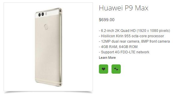 مشخصات هوآوی P9 مکس