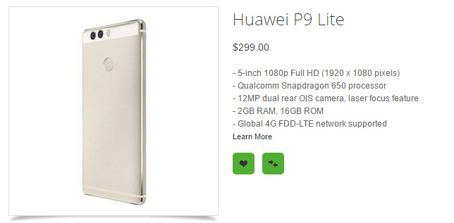 مشخصات هوآوی P9 لایت