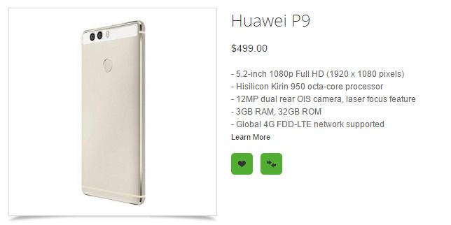 مشخصات هوآوی P9