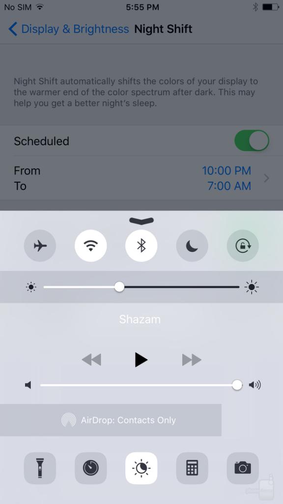 ساده ترین راه برای فعال کردن نایت شیفت در iOS 9.3 این است که کنترل سنتر خود را بالا بکشید و بر روی دکمه تاگل جدیدی که در بخش پایین و وسط می بینید، تپ بزنید