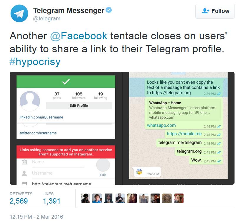 اینستاگرام از قرار دادن لینک تلگرام در پروفایل شما جلوگیری می کند